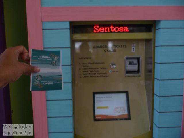Máy bán vé + vé tàu điện đi Sentosa