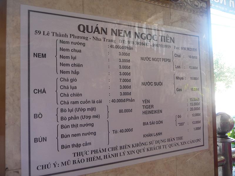Bảng giá tại quán