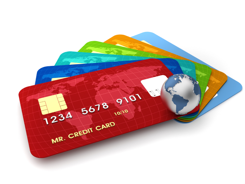 3d render illustration of conceptual credit cards and Earth globe