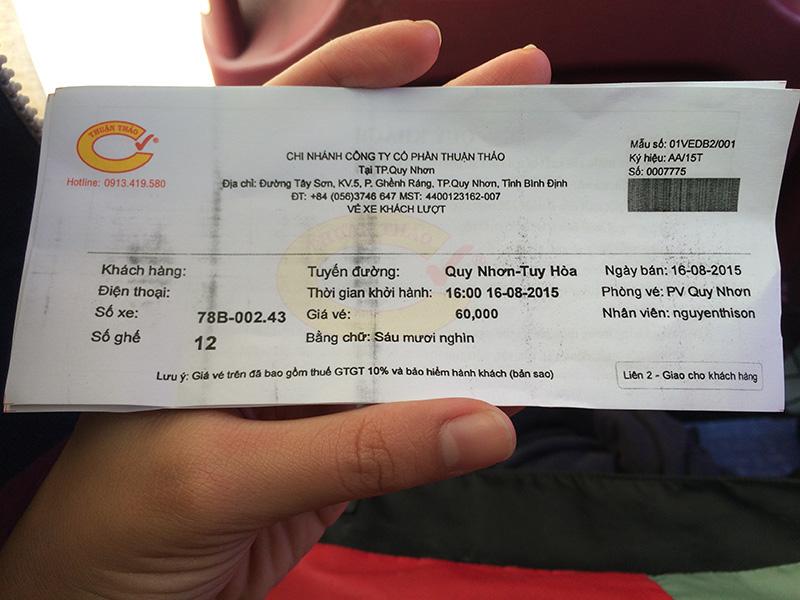 Vé xe Thuận Thảo đi Tuy Hòa từ Qui Nhơn, 60,000đ/ người