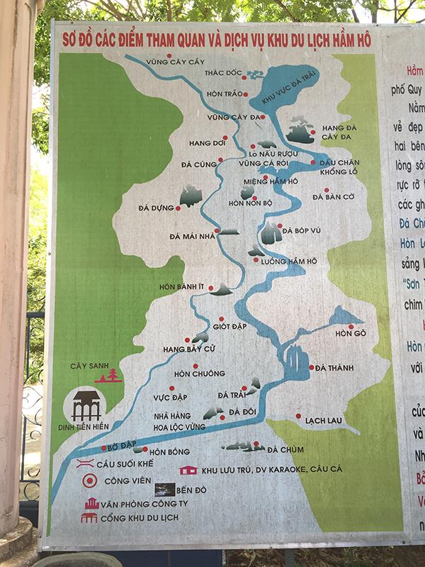 Bản đồ khu du lịch Hầm Hô thuộc thôn Phú Lâm, xã Tây Phú, huyện Tây Sơn, tỉnh Bình Định, cách Tp. Qui Nhơn khoảng 50km