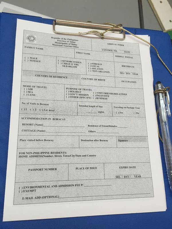 Tờ điền thông tin nhập cảnh khi đến sân bay Boracay