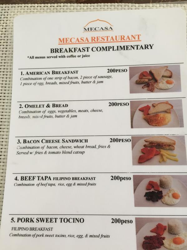 Bảng menu đồ ăn sáng tại Mecasa