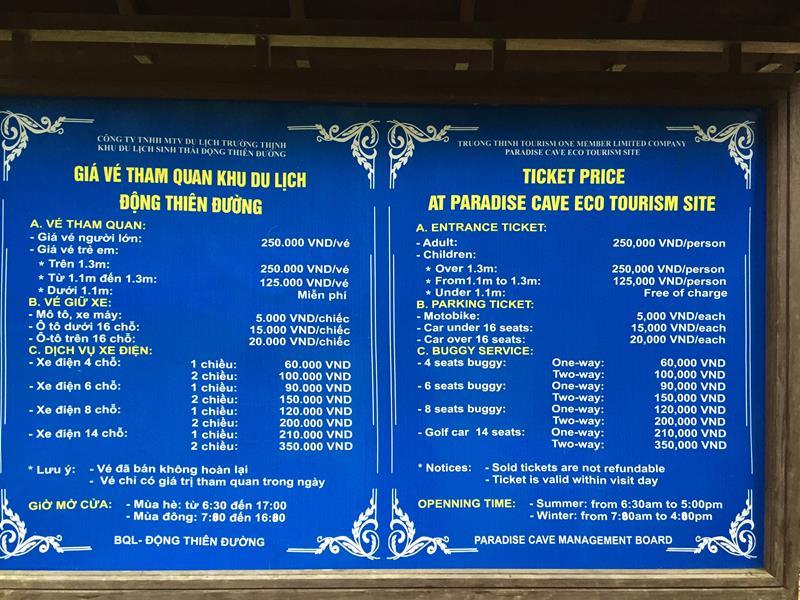 Bảng giá vé Động Thiên Đường