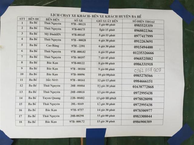 Thời gian - số điện thoại tuyến xe Ba Bể - Thái Nguyên