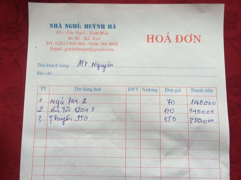 Hóa đơn Homestay Huỳnh Hà