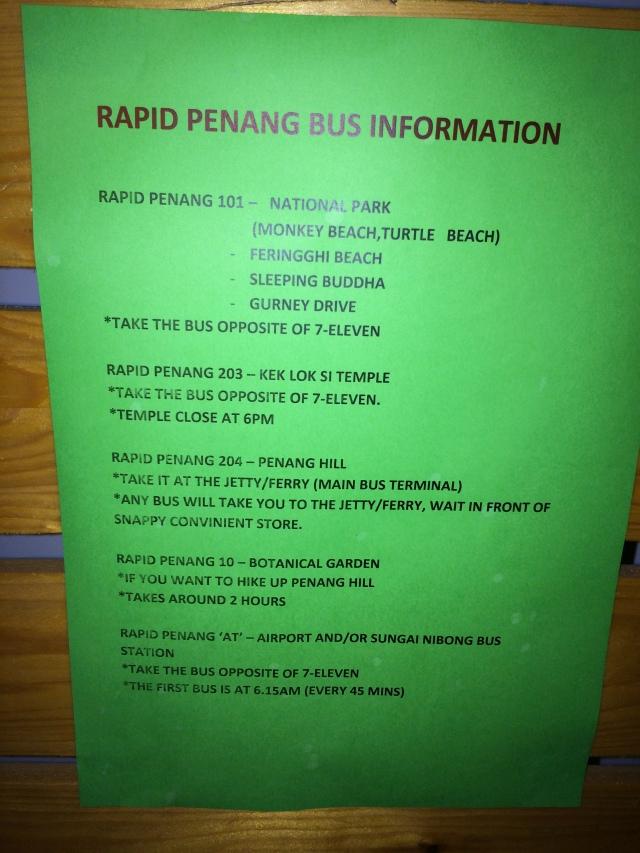 Thông tin bus đến các điểm tham quan nổi tiếng tại Penang
