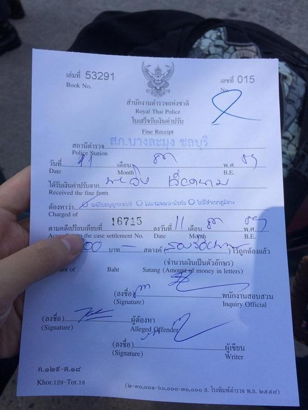 Giấy phạt Pattaya