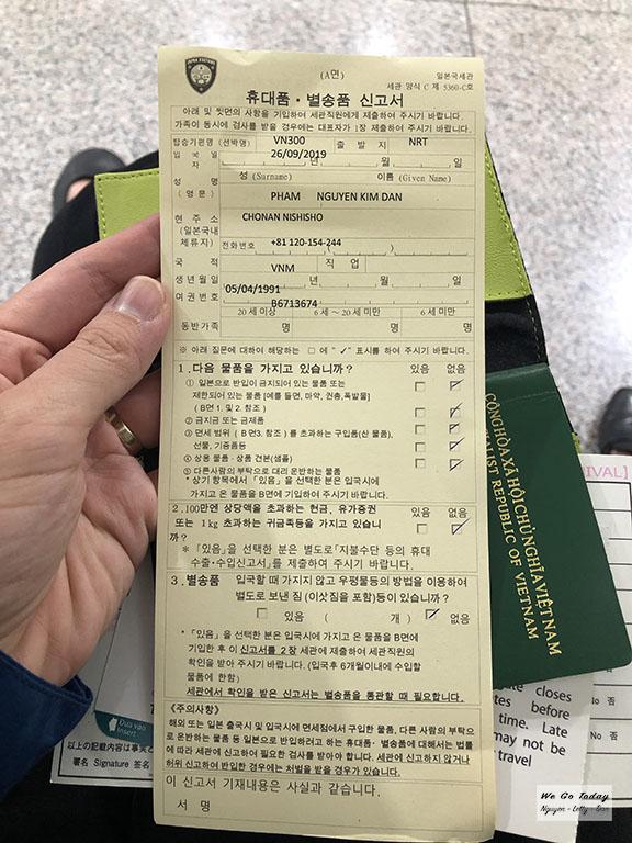 Phiếu khai thông tin hành lý